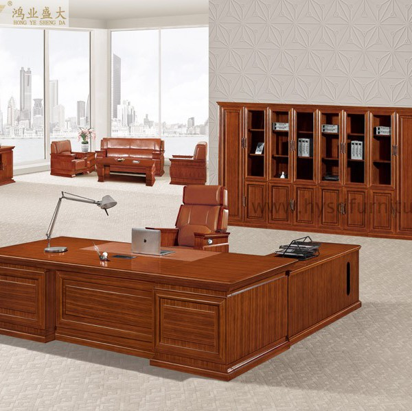Luxury antique wood presidential furniture office desk hy