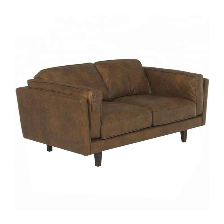 Modern Genuine Leather Wood Frame Vintage Sofa leisure living room  Furniture Couch 3 seat