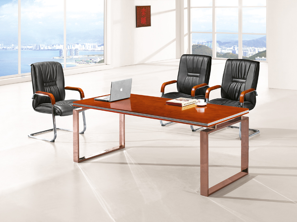 Modern Office Wooden Small Meeting Table With Metal Frame Hy A218 Hongye Shengda Furniture Manufacturer Contract Desk