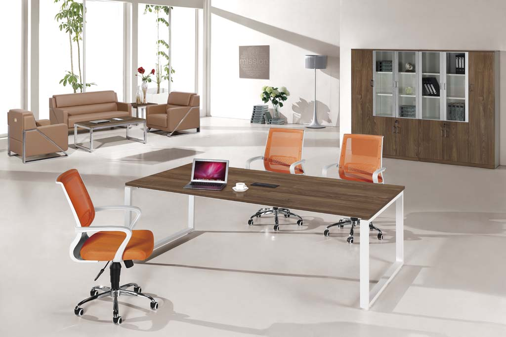 Modern Office Wooden Conference Table With Metal Frame HYH - Executive office conference table